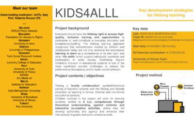 Key Development Strategies for LifeLong Learning (KIDS4ALLL)